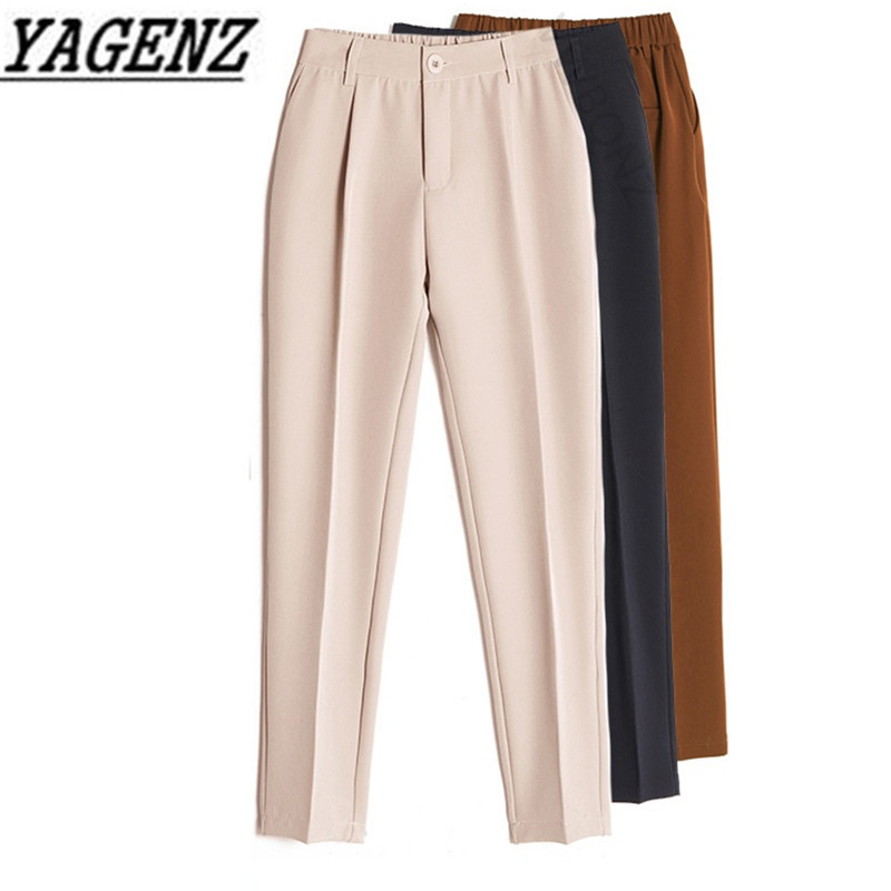 Women's Casual Harem pants Spring Summer Fashion Loose Ankle length Trousers Female Classic High Elastic Waist Black Camel Beige-in Pants & Capris from Women's Clothing