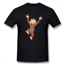 2019 funny tee  t shirts Happy Curious George men short sleeves cotton tops cool shirt summer Mens Basic Short Sleeve T-Shirt