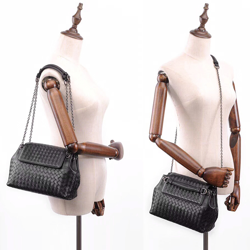 Simple fashion 100% sheepskin woven shoulder bag ladies leather casual wild Messenger bag female chain bag 2020 new BV bag - 5