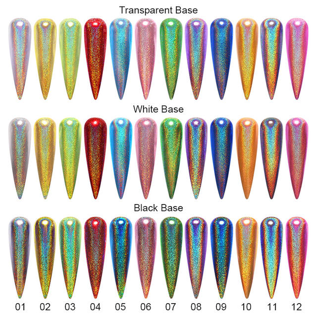 0.3g Metallic Nails Glitter Holographic Mirror Powder 12 Colors