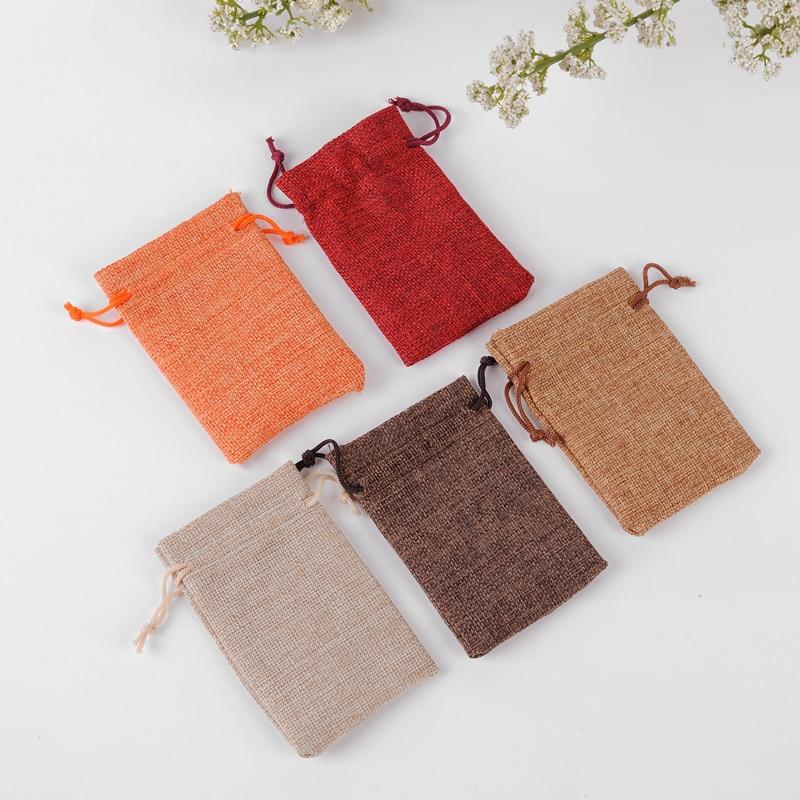 100pcs/lot 7x9 Cm Various Sizes Burlap Jute Sackcloth Linen Bags Drawstring Pouches For Christmas Wedding Gift Packing Bag