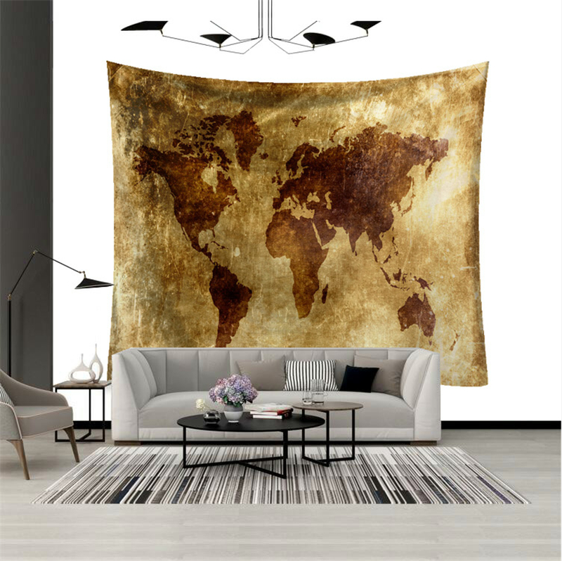 World Map Patterns Tapestry Arrivalable Wall Mural Washable Arts Hanging Cloth Classical Tapestries