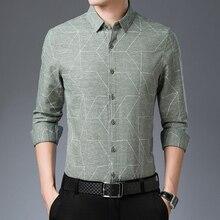 Модная брендовая мужская рубашка с длинным рукавом, повседневная мужская одежда из хлопка на осень и зиму