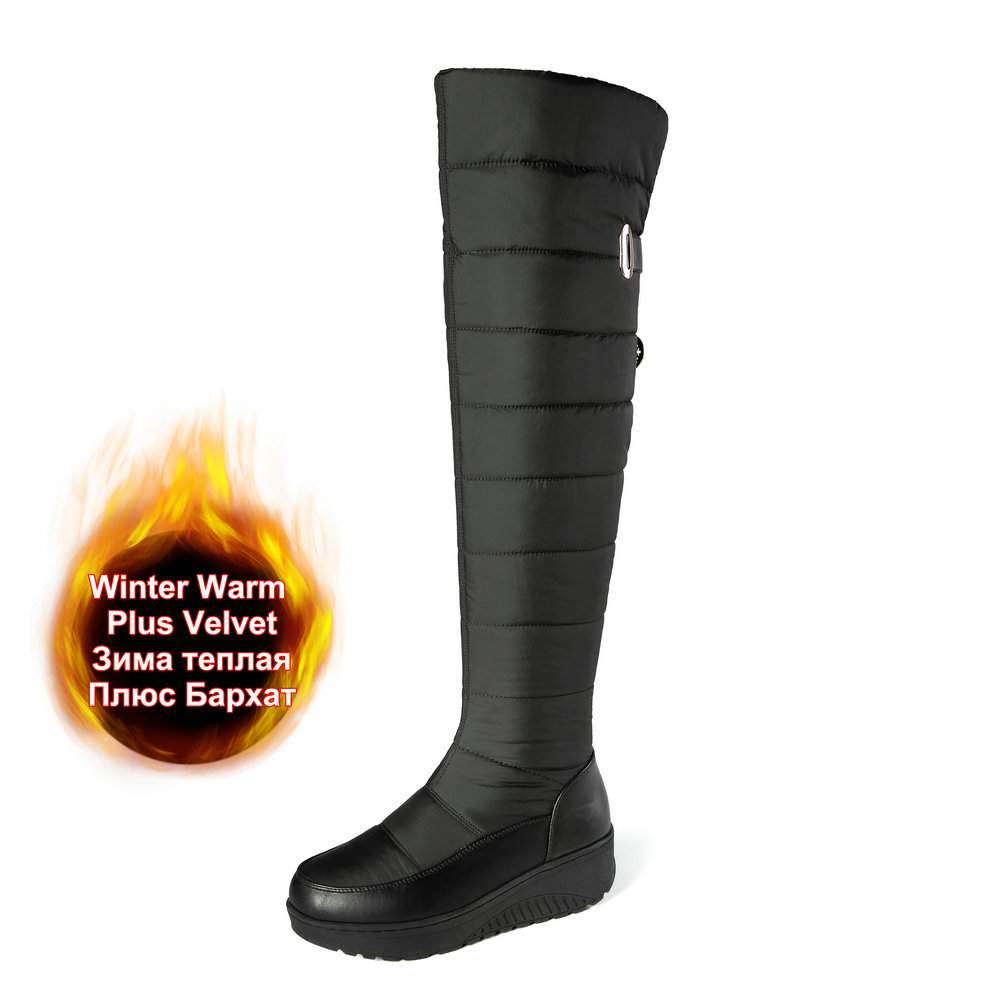 Winter Warm Down Genuine Leather Over The Knee Snow Boots Side Zip Women Fashion Black Female Shoes Gilrs Outdoor Wear Plus Size