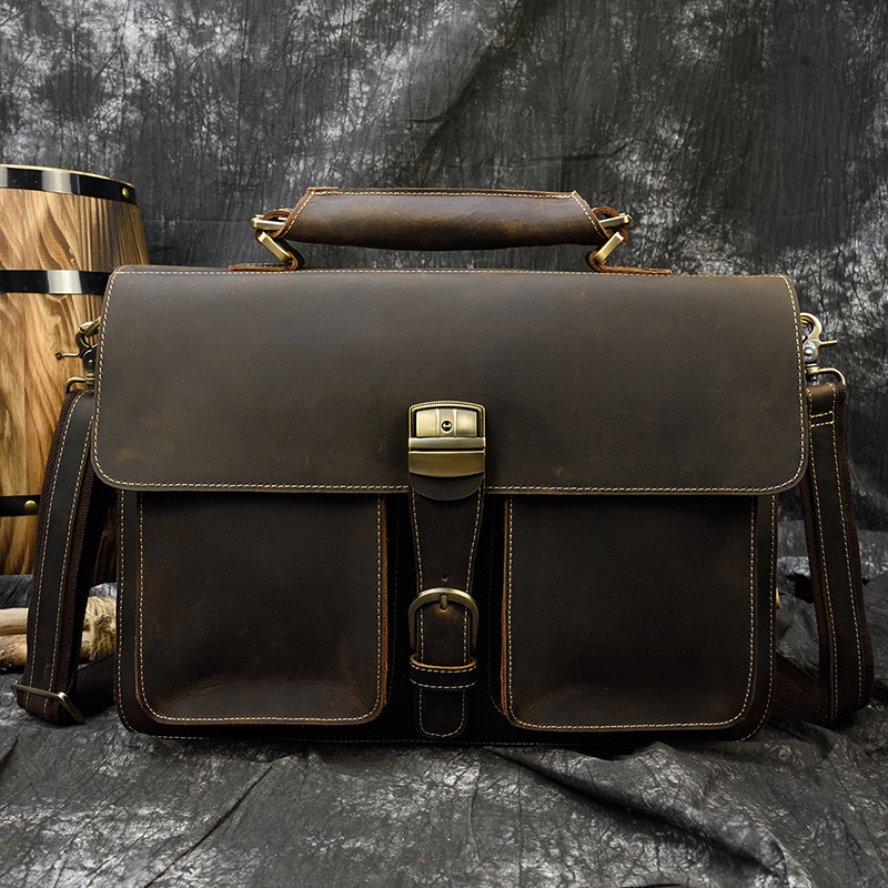 MAHEU Luxury Fashion 100% Genuine Leather Men Briefcase Cow Leather Laptop Bag Vintage Shoulder Bag Real Cowhide Computer Bag
