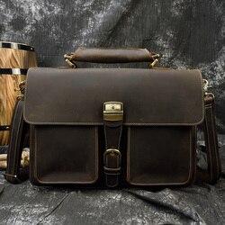 MAHEU Luxus Mode 100% Echtem Leder Männer Aktentasche Kuh Leder Laptop Tasche Vintage Schulter Tasche Echt Rindsleder Computer Tasche