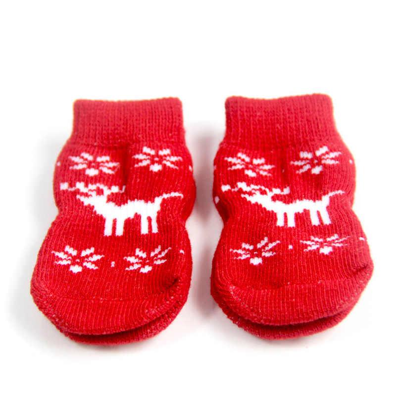 Meias de natal para cães, 4 unidades, cão, pequeno, bichos de estimação, macias, quente, malha, roupas para cães e gatos xyr natal