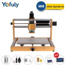 CNC Full Metal DIY Engraving Machine 3018 Pro Plus 500W Spindle Engraver Kit Wood Router, 3 Axis Cutting Carve 15w Laser Machine