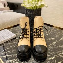 Low-Heel Ankle-Boots Mixed-Color Shoes Brand Elegant Fashion Women Short Buckle Vintage
