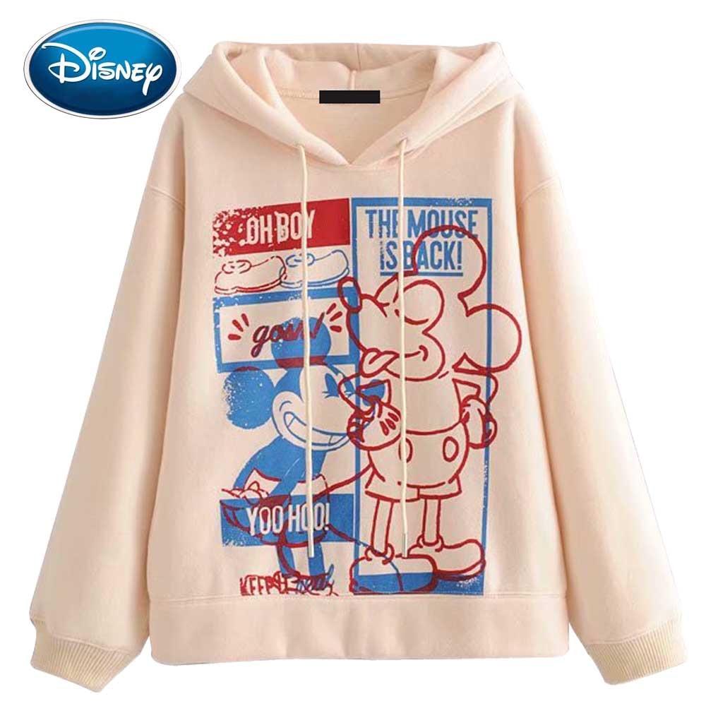 Disney Stylish Mickey Mouse Cartoon Letter Print O-Neck Pullover Streetwear Women Sweatshirt Hoodies Drawstring Long Sleeve Tops