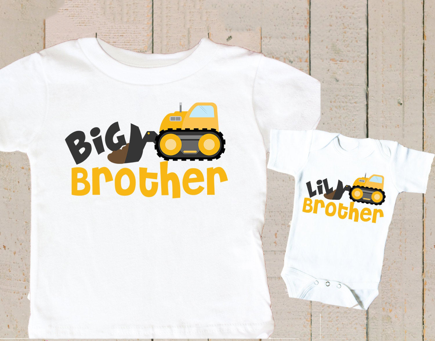 Big Brother Little Brother Gift Construction Truck T-shirt Big Brother Little Brother Tops Personalized Matching Outfits