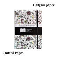 Floral Bullet Journal Dot Grid Hard Cover A5 Notebook Elastic Band Travel Diary Dotted Bujo Planner