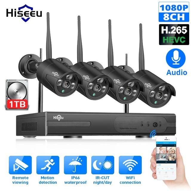 Hiseeu 8CH Wireless NVR 1080P HD Outdoor Home Security Camera System CCTV Video Surveillance NVR Kit 1080P Wifi Camera Set black