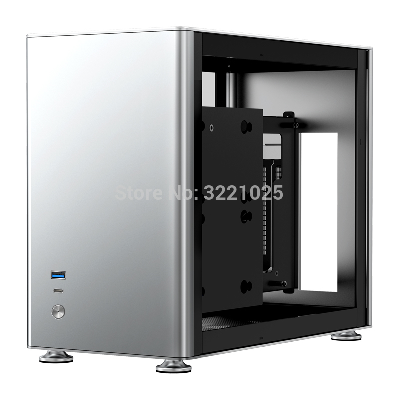 JONSBO A4 Ver1.1 ITX Computer Case Support 240mm Radiator SFX-L PSU 325mm Vertical GPU Vertical Airflow Tempered Glass Side Panel Separated Cabinet Magnalium Case Gray