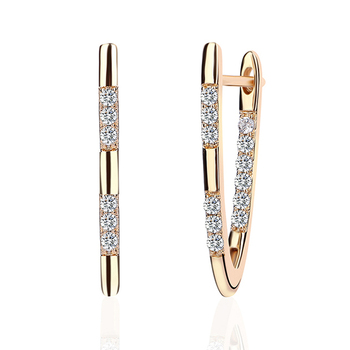 INALIS Stud Earrings Hot Luxury V Shape Earrings Golden/Silver/Rose Gold Colors 5A Cubic Zirconia Stud Earring For Women Jewelry 3