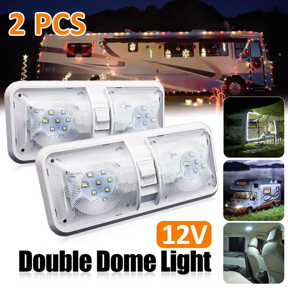 RV LED Light 12V 800lm 6000-6500K Ceiling Fixture Camper Trailer Marine Double Dome Light 48 LEDs Wholesale Quick Delivery CSV