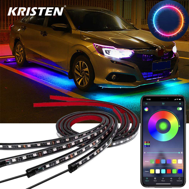 Smart Phone App Control 4pcs RGB LED Strips Car Underbody Custom Chassis Lights