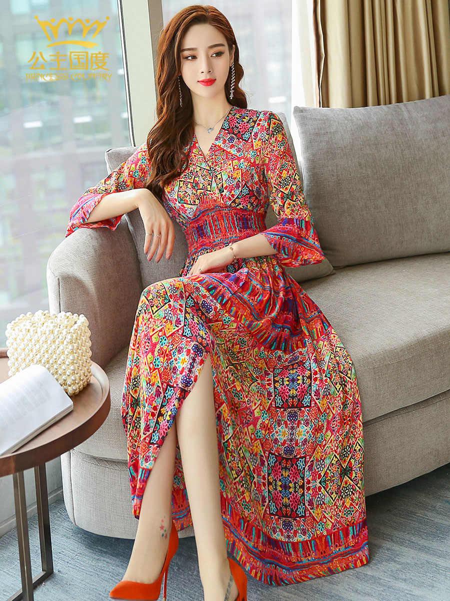 Zijde Zomer Boho 200% Bloemen Midi Jurken Plus Size Elegante Jurk Voor Vrouwen V-hals 2020 Vestidos ZS96A Pph422