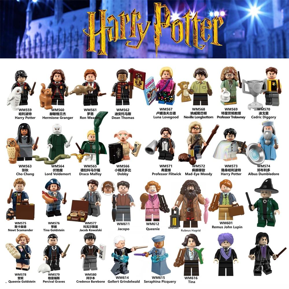 Set Sale Harri Figures Ron Hermione Snape Potters Dumbledore Dobby Voldemort Draco Dean Hagrid Building Blocks Christmas Toys