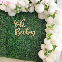 PATIMATE Oh Baby Wooden Wall Sticker Baby Shower Decor For Home Boy Girl Babyshower Backdrop Christening Birthday Party Supplies