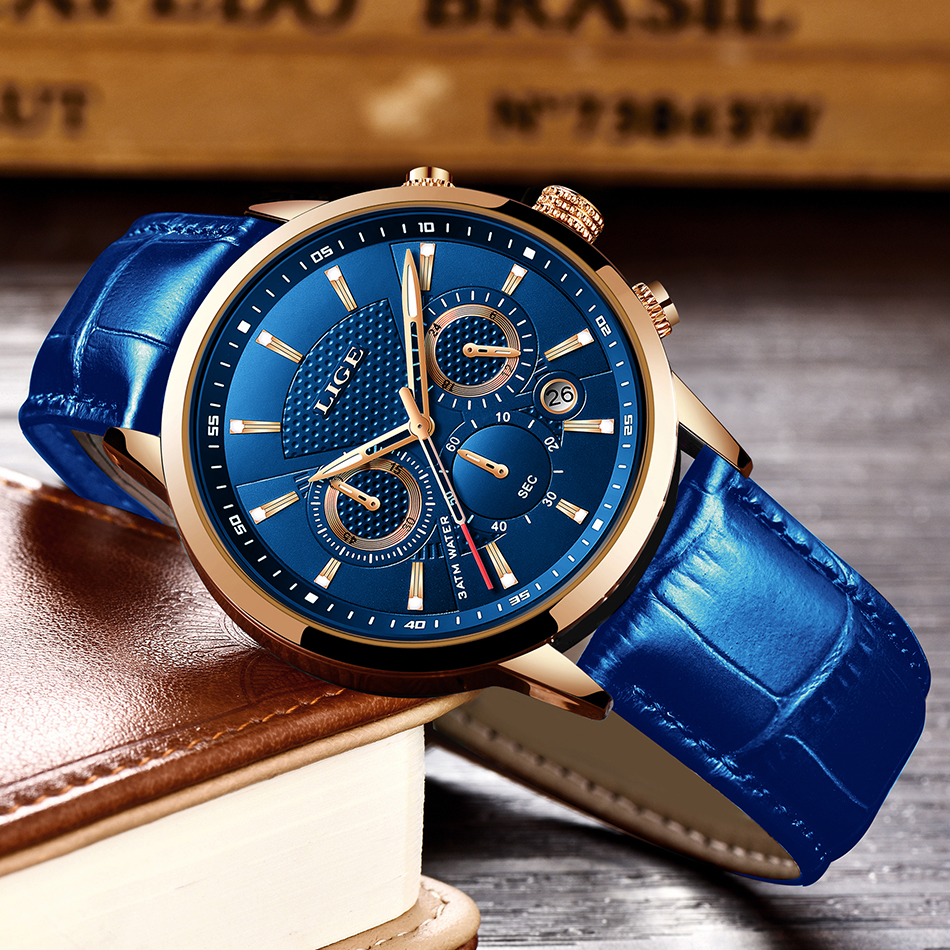 Hebb2706506b6443e9df2fc6140c7c42b4 LIGE Fashion Mens Watches Top Brand Luuxury Blue Quartz Clock Male Casual Leather Waterproof Sport Chronograph Relogio Masculino