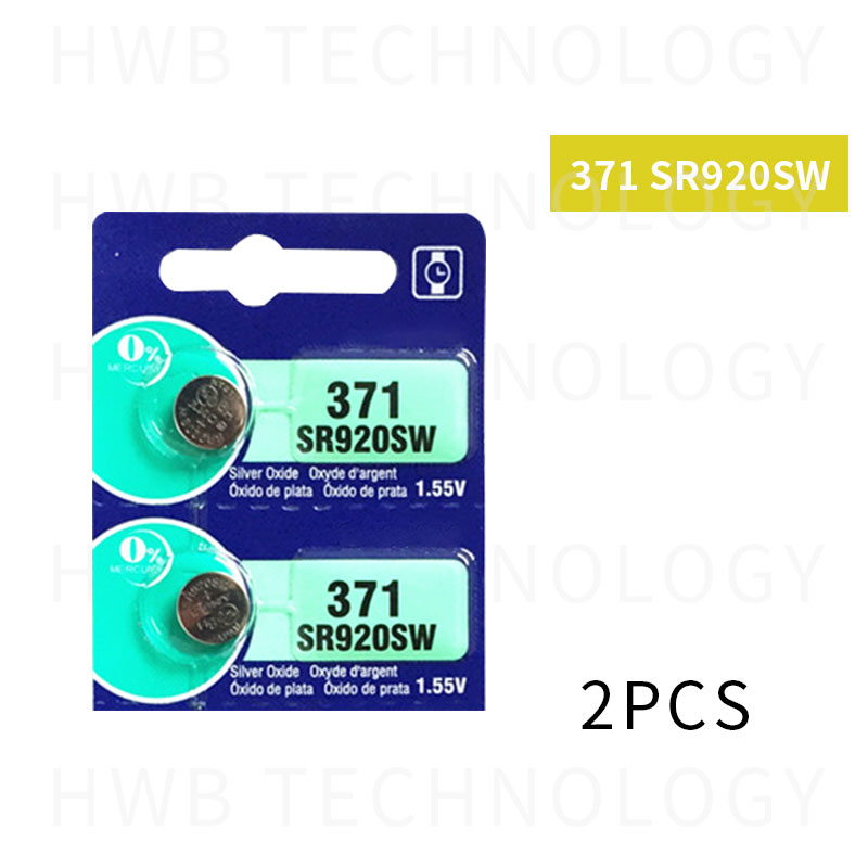 2pcs <font><b>371</b></font> <font><b>battery</b></font> SR69 SR920W SR920SW AG6 L921 605 620 280-31 280-51 Cell Button Watch <font><b>Batteries</b></font> Silver Oxide retail card image