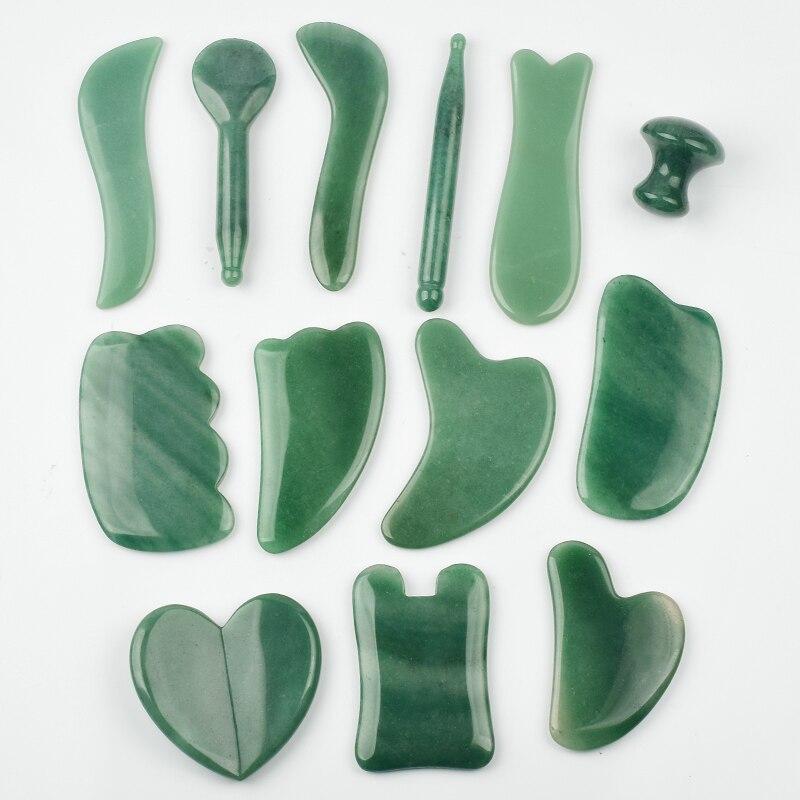 Gua Sha Board Green Aventurine Face Massage Tool Back Head Foot Scraper Acupuntura Therapy Crystal Stone Massager
