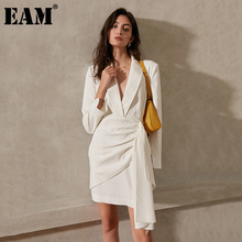 Wrinkled Split-Dress Long-Sleeve White EAM Irregular Fit-Fashion Women Spring Autumn