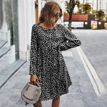 Autumn Winter Temperament Print Dress Women Casual Button A Line Loose Knee Length Dress For Women 2021 New Fashion 1