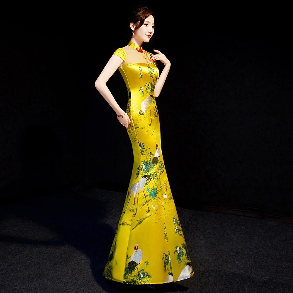 Yellow Chinese Style Womens Wedding Cheongsam Retro Sexy Slim Party Evening Dress Marriage Gown Qipao Fashion Lady Vestido S-XXL