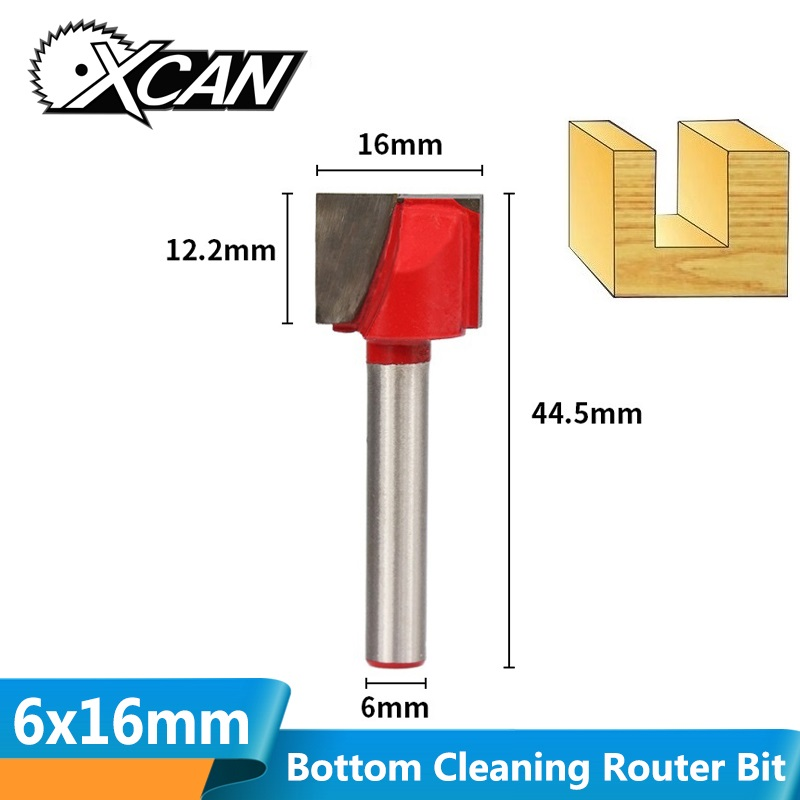 XCAN 1pc 16mm Bottom Cleaning Milling Cutter 6mm Shank CNC Engraving Bits For Woodworking Trimming And Cleaning Wood Router Bits
