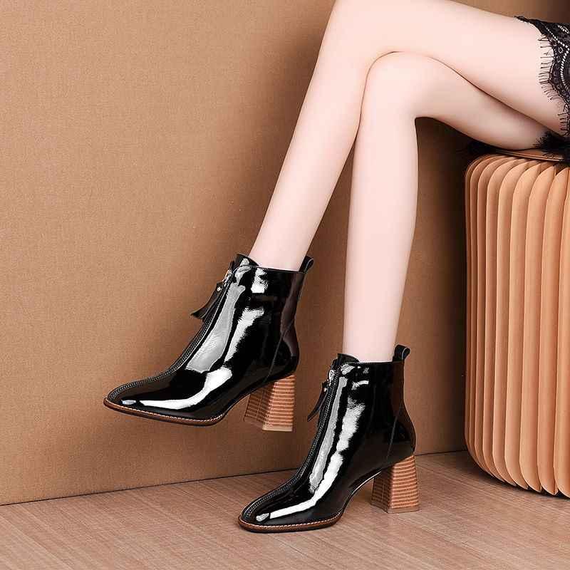 ALLBITEFO yüksek kalite hakiki deri kadın çizmeler kare ayak sonbahar kış yüksek topuk yarım çizmeler rahat moda botlar