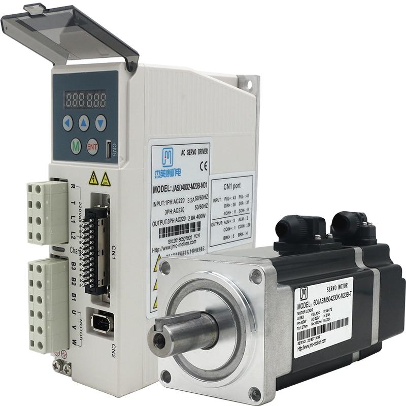 400w 3000rpm 1.27NM 60mm 220V AC servo motor drive kit 17bit JMC 60JASM504230K-17BC+JASD4002-20B