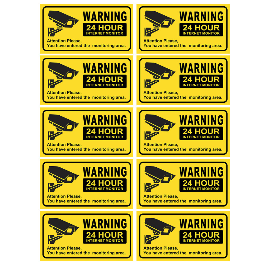10PCS Waterproof Video Camera Surveillance Security Stickers Decals Warning Alarm Signs for Home Office School Shop 27.9x15.2cm