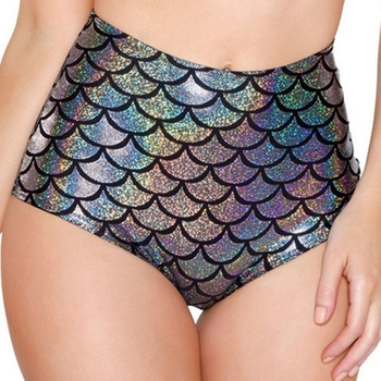 Waist Candy Color Patent Leather Sexy Pole Dance Booty Shorts Clubwear Micro Shorts Fish Scale Perlage Mini Short Mujer image