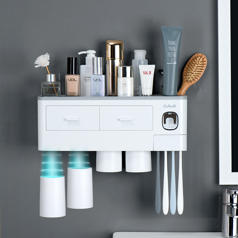 TOOTHPASTE DISPENSER TOOTHBRUSH HOLDER SET WALL MOUNT STAND DORMITORY BATHROOM