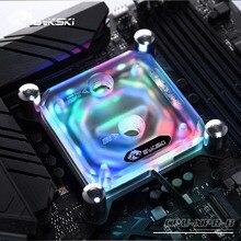 Bykski CPU blok wodny do INTEL LGA1150 1151 1155 1156 2011 X99 przezroczysty RGB wsparcie 5V 3PIN GND nagłówek do płyty głównej