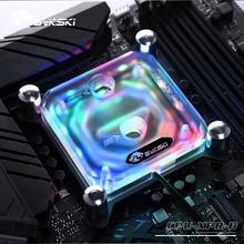 Bykski bloc deau CPU pour carte mère INTEL LGA1150, 1151, 1155, 1156, 2011, X99, support Transparent RGB, 5V, 3 broches, tête GND vers carte mère