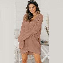 Suéter de punto con cuello en V para mujer, Jersey sexy holgado de punto largo, de color liso, nuevo de punto, 2020