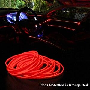 Image 3 - EL Draht Auto Innen Atmosphäre Umgebungs Licht Rohr LED Streifen Flexible Neon Lampe Glow String Licht Für Auto Dekoration Auto styling