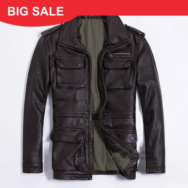 2020 Brow Men Long M65 Leather Jacket Plus Size XXXXXL Genuine Thick Cowhide Winter Russian Safari Leather Coat FREE SHIPPING
