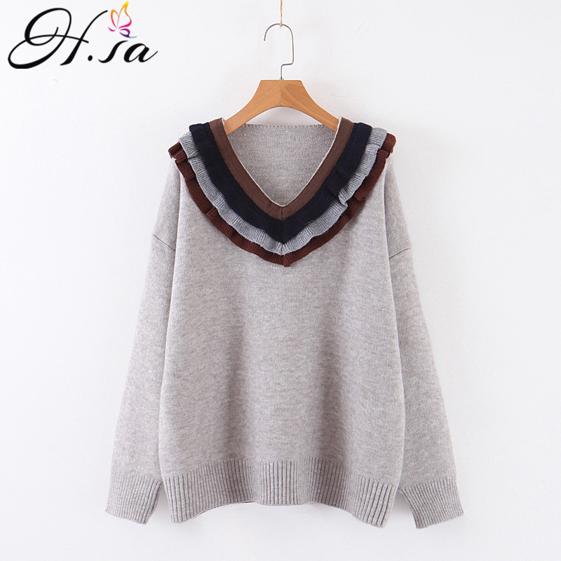 H.SA 2019 Winter Fashion Women V Neck Ruffles Sweater And Jumpers Oversized Korean Fashion Winter Clothes Christmas Sweater Robe
