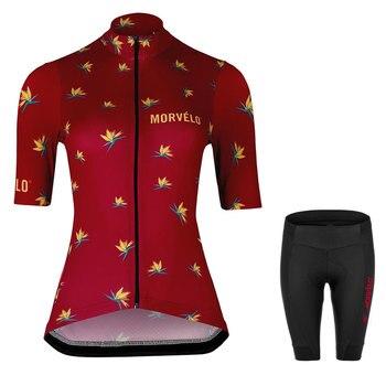 Morvelo-Maillot de Ciclismo de manga corta para mujer, conjunto de camisetas de...