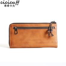 Original Handmade Men's Leather Wallet Brand Thin Purse Fashion Designer Genuine Leather Coin Purses Zipper Billfold Vintage Bag