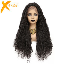 X-TRESS Synthetic Faux Locs Crochet Braids Wig Straight Mix Curly Hair Darker Brown Colored Wig For Black Women Soft Dreadlock