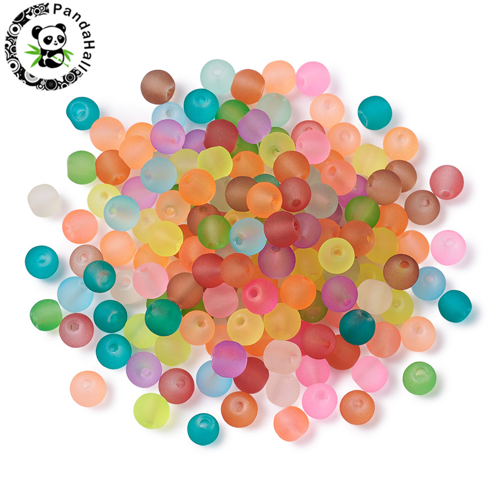 Frosted Transparent Glass Beads 4 6 8 10mm Round Beads For Jewelry Necklaces Bracelets Making Multicolor Hole: 1.3~1.6mm; 31.4