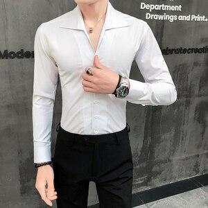 Image 2 - 높은 품질 남자 셔츠 솔리드 패션 2020 긴 소매 턱시도 셔츠 드레스 슬림 맞는 칼라 캐주얼 사회 셔츠 남자 3xl을 거절