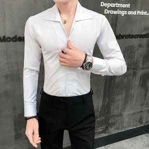 Image 2 - Camisa de alta calidad para hombre, moda sólida 2020, manga larga, esmoquin, vestido ajustado con cuello vuelto, camisas sociales informales 3XL
