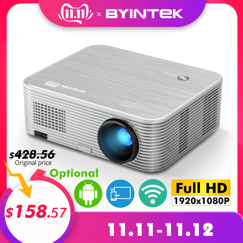 BYINTEK MOON K15 Full HD 1080P Android wifi светодиодный 1920x1080 lcd видео проектор для Iphone смартфонов