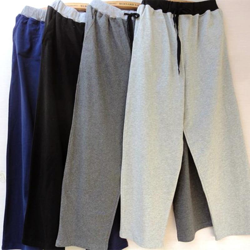 Men's Home Pants Cotton Trousers Threaded Waist Men's Sleep Bottoms